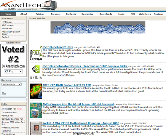 anandtech 1997 webpage AnandTech