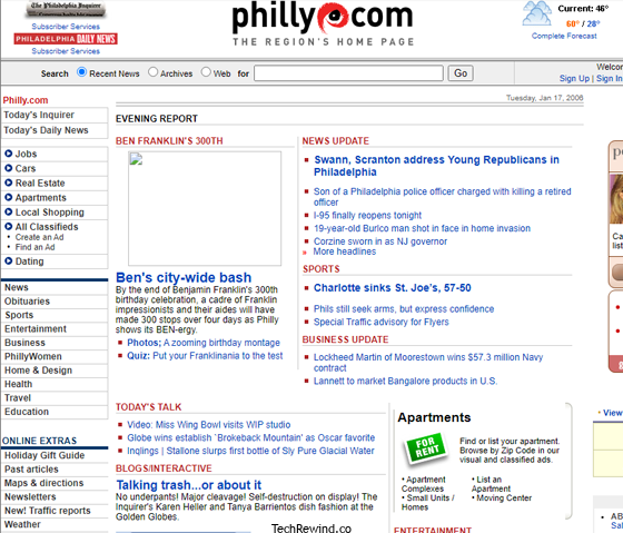 philly dot com webpage 2006 The Inquirer