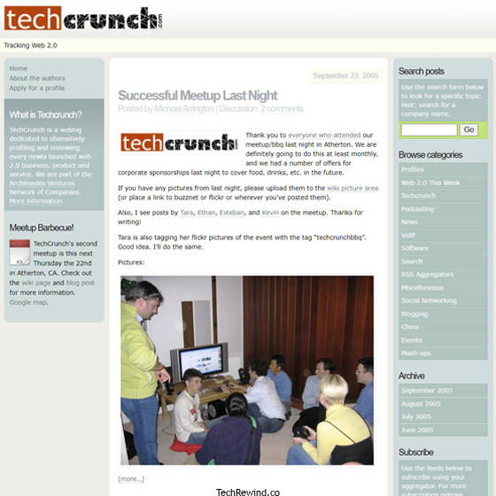 techcrunch 2005 webpage TechCrunch