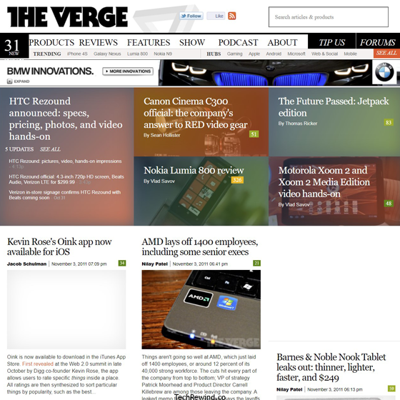 theverge webpage 2011 The Verge